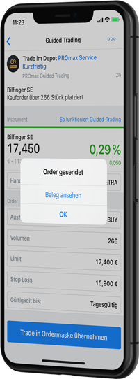 Guided Trading Order in der App gesendet